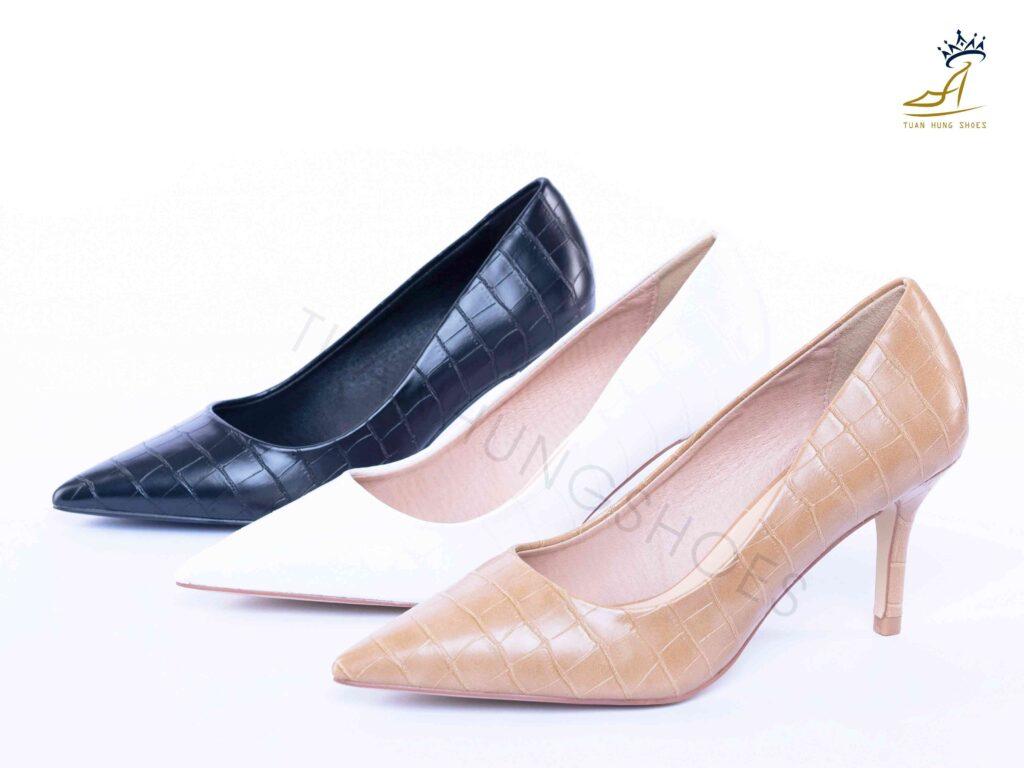 Giày cao gót da vân